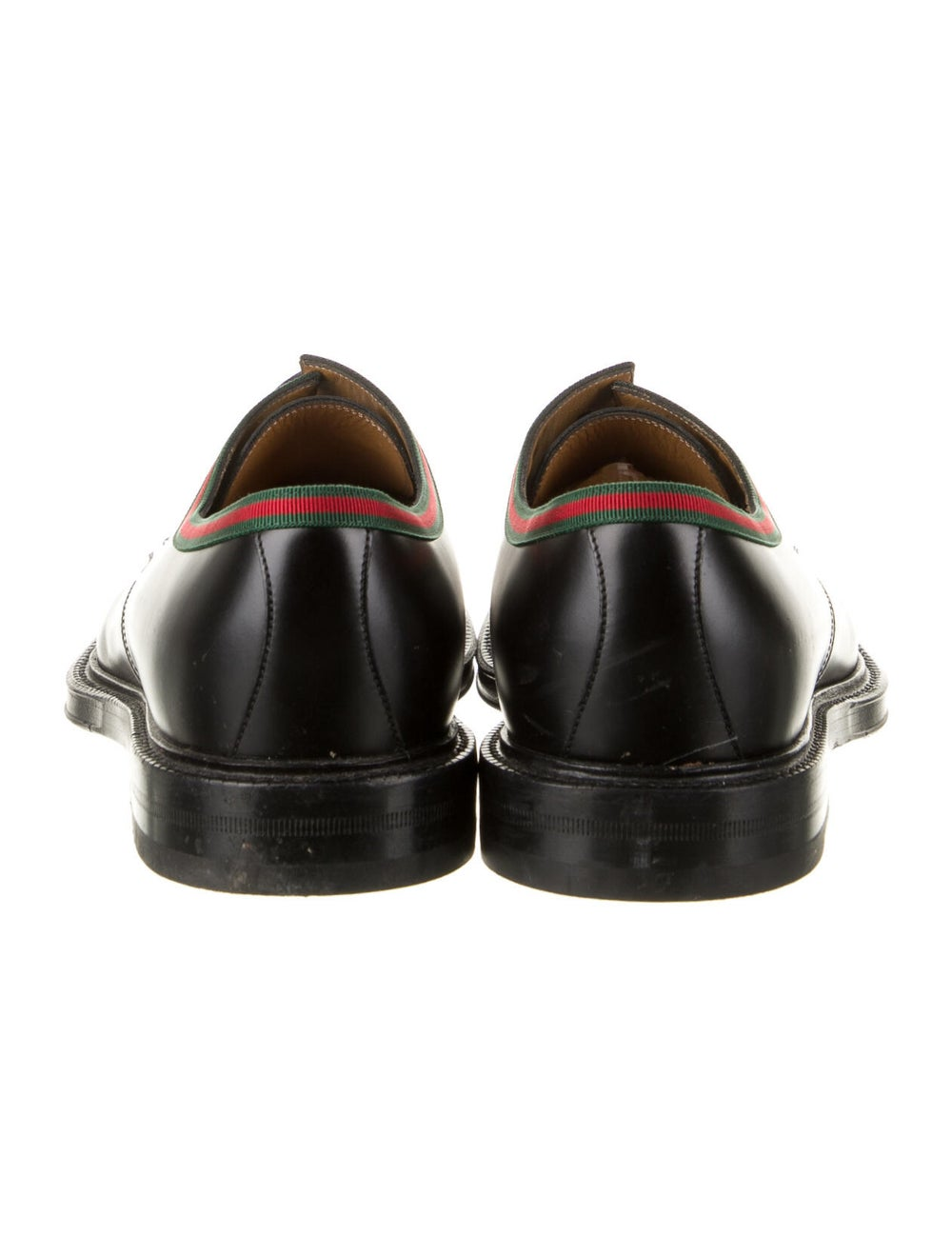 Gucci Web Accent Leather Derby Shoes Black - image 4