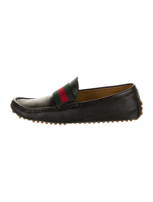 Gucci Web Accent Leather Drivers Black - image 1