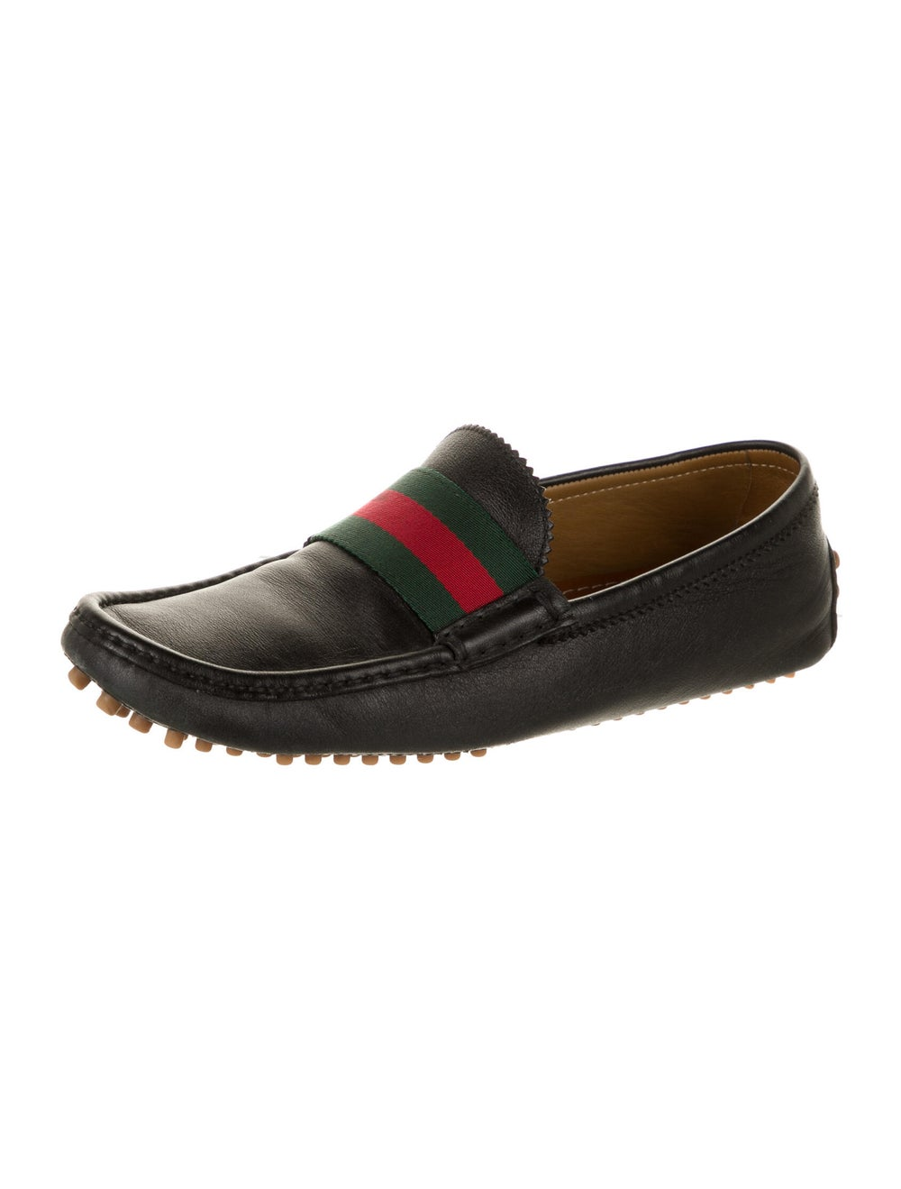 Gucci Web Accent Leather Drivers Black - image 2
