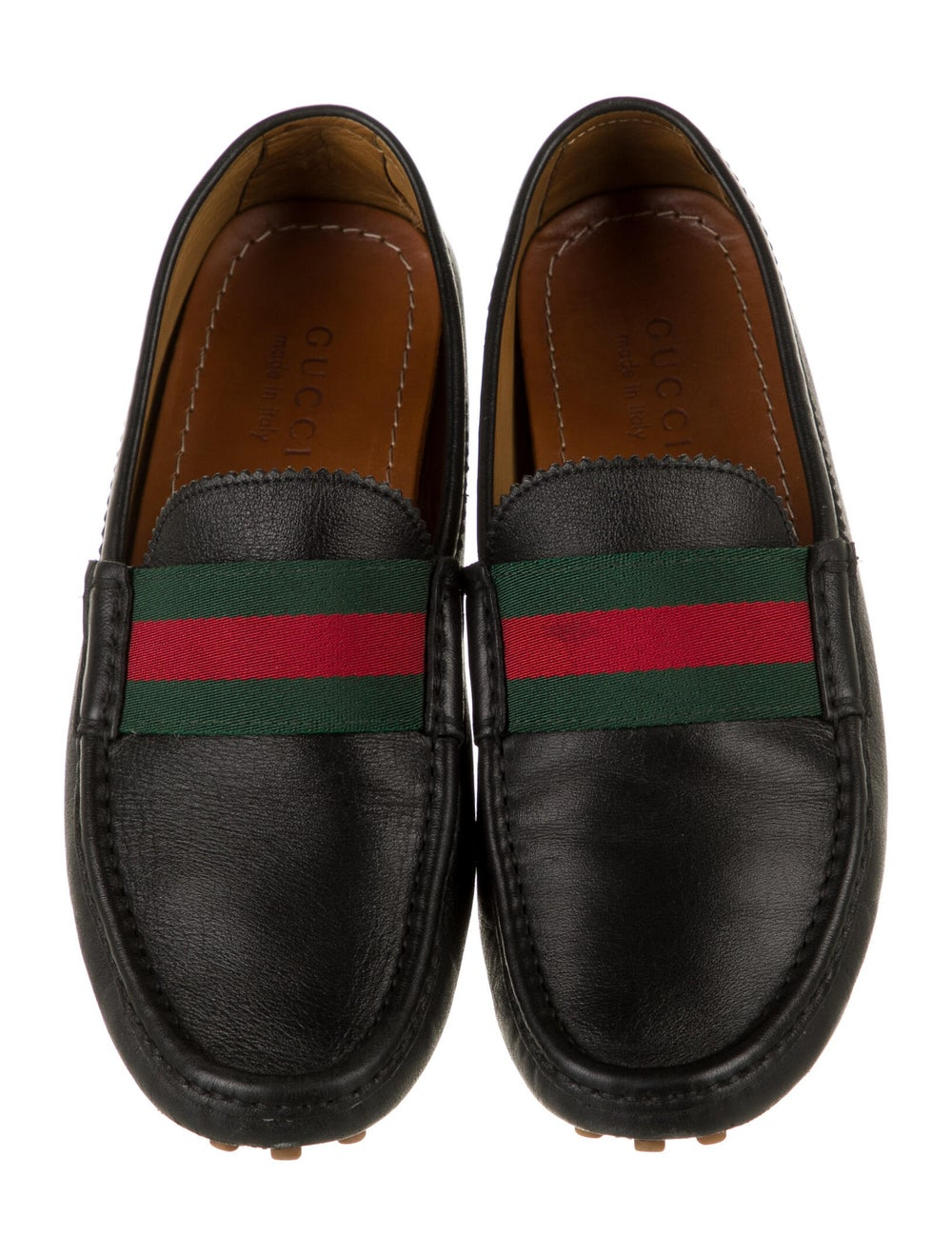 Gucci Web Accent Leather Drivers Black - image 3