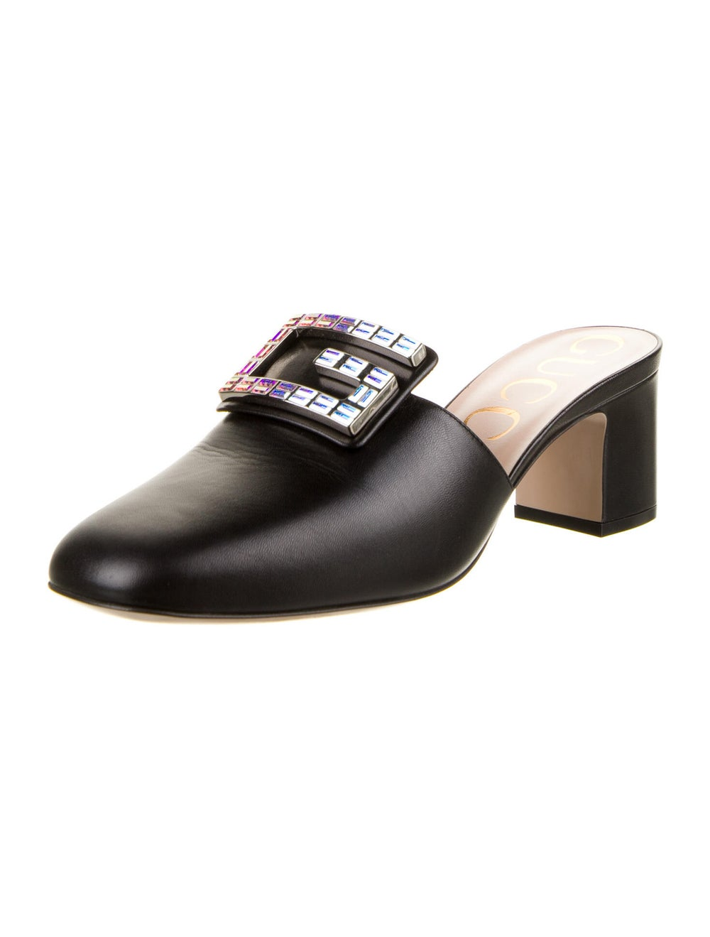 Gucci Leather Crystal Embellishments Mules Black - image 2