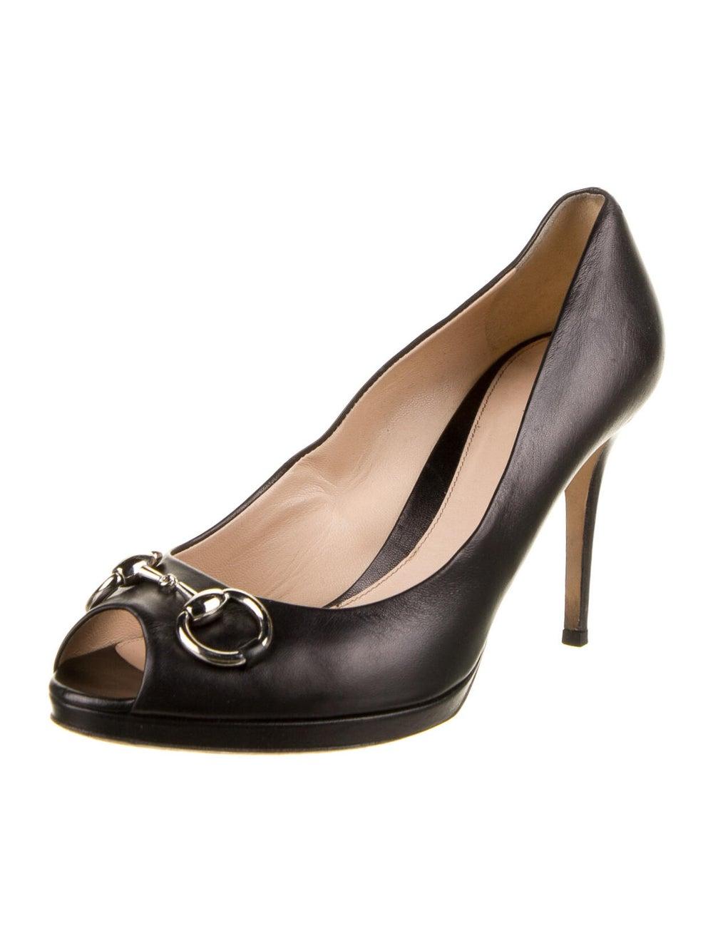 Gucci Horsebit Accent Leather Pumps Black - image 2