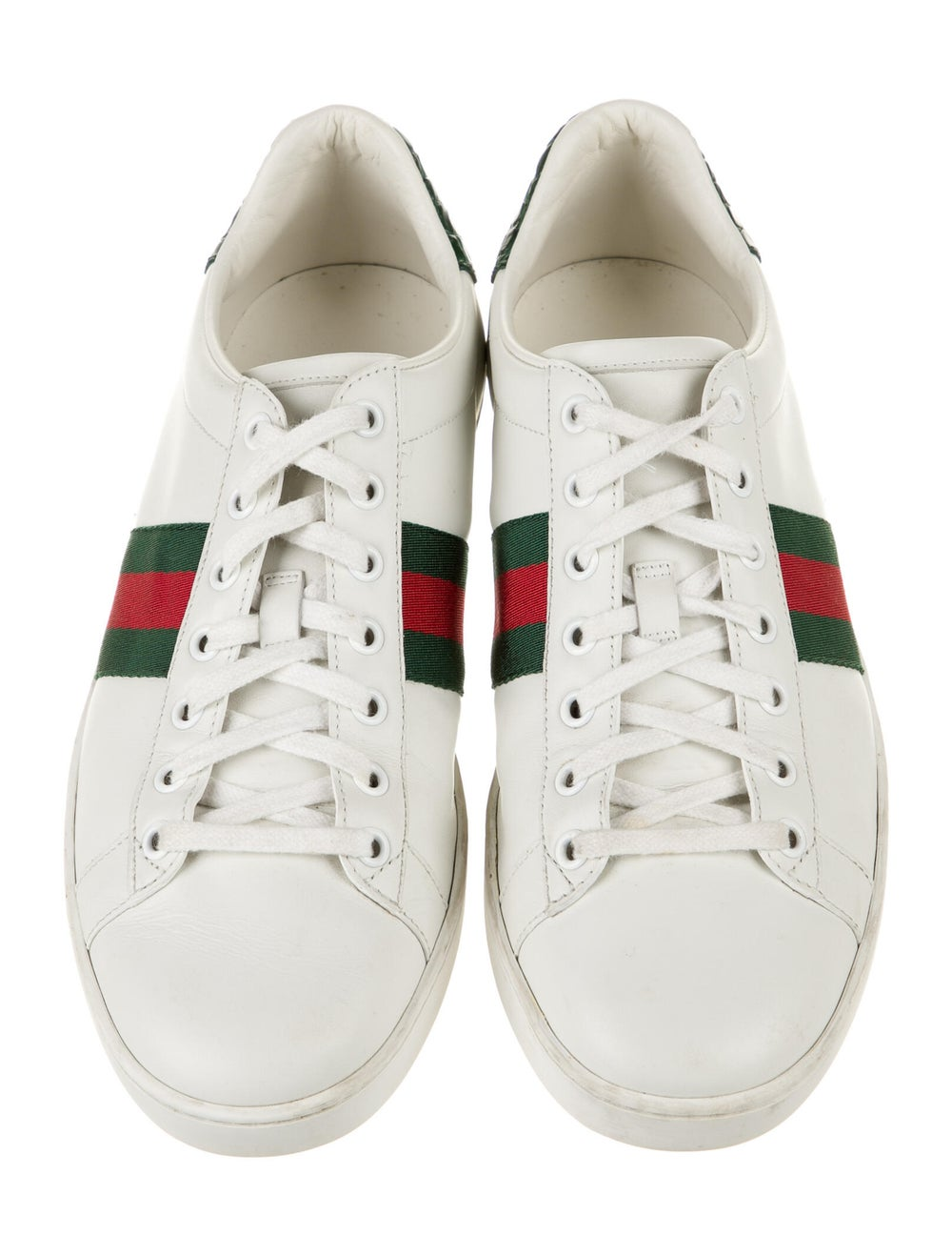 Gucci Web Accent Leather Sneakers White - image 3