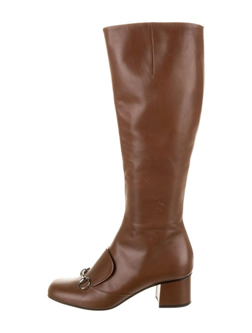 Gucci Horsebit Accent Leather Riding Boots Brown - image 1