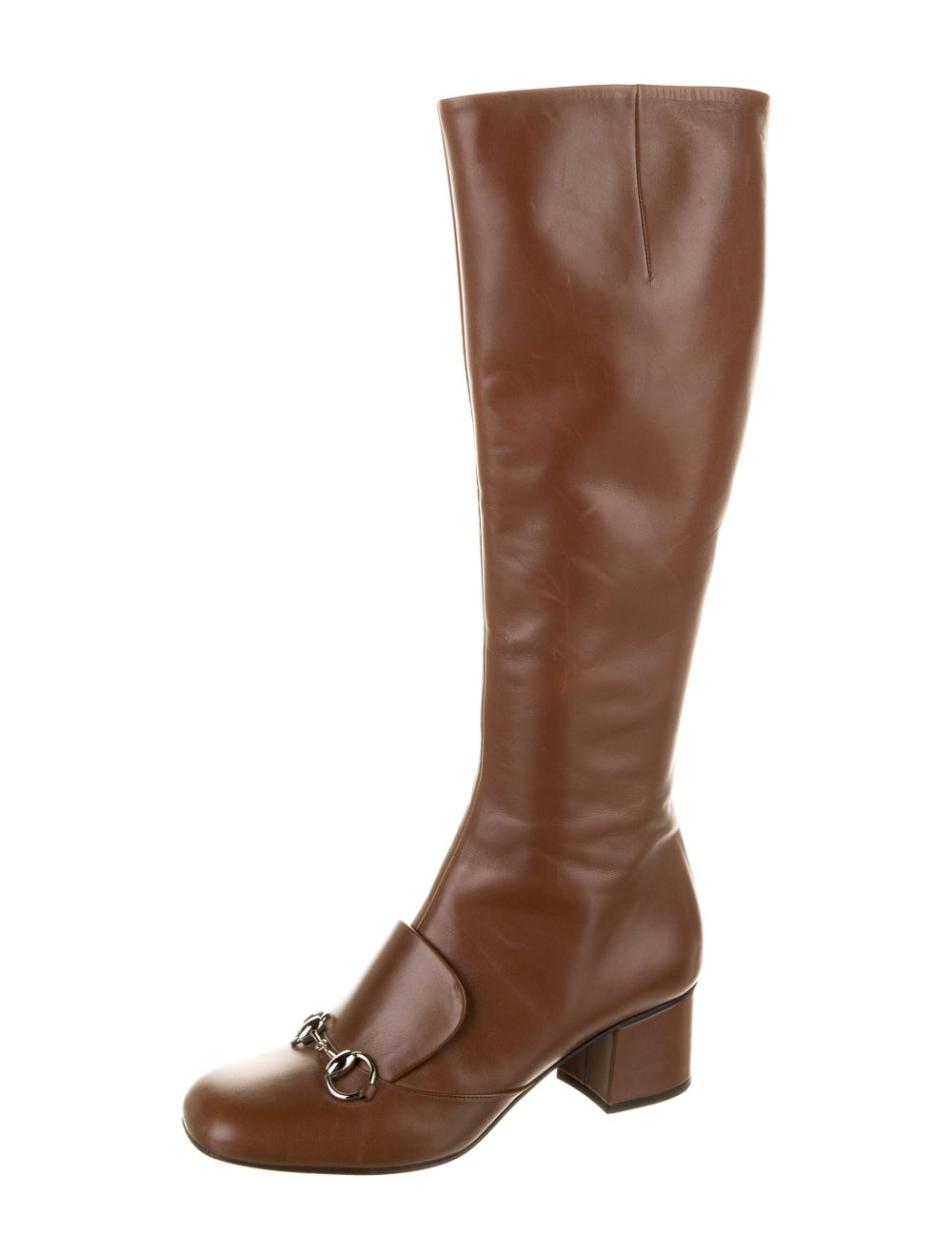 Gucci Horsebit Accent Leather Riding Boots Brown - image 2