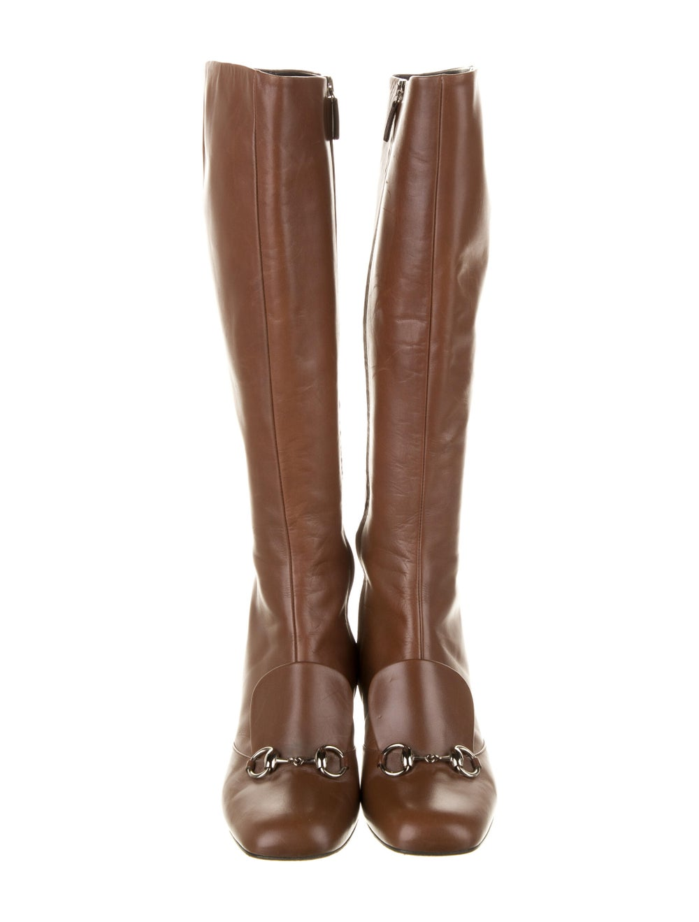 Gucci Horsebit Accent Leather Riding Boots Brown - image 3