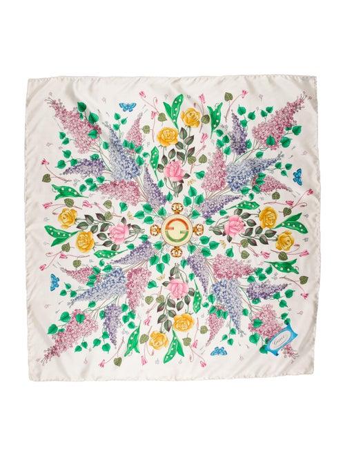 Gucci Silk Floral Print Scarf White - image 1