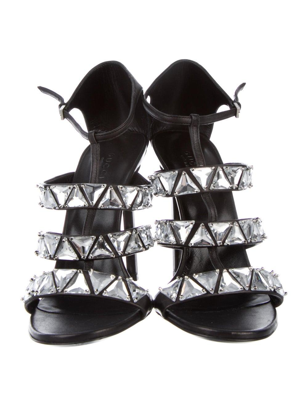 Gucci Leather Crystal Embellishments Sandals Black - image 3