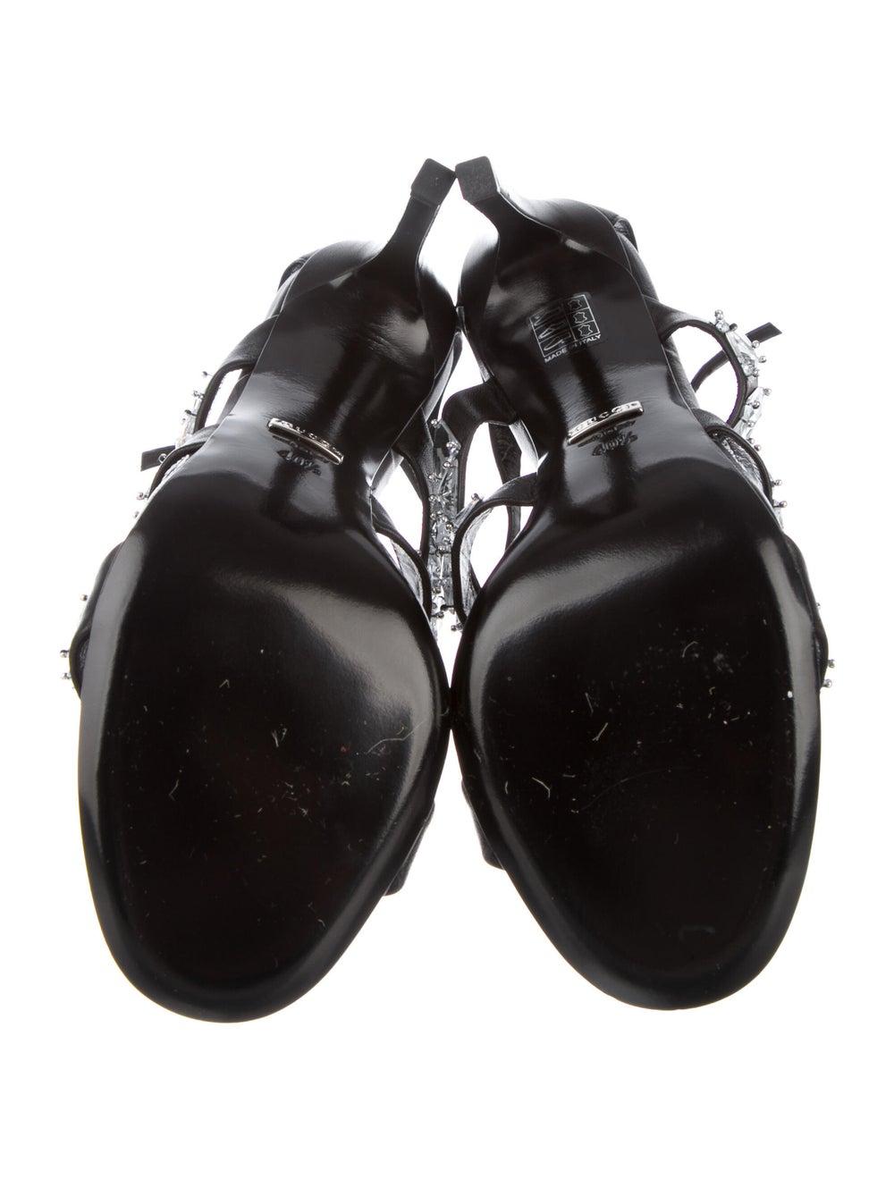 Gucci Leather Crystal Embellishments Sandals Black - image 5