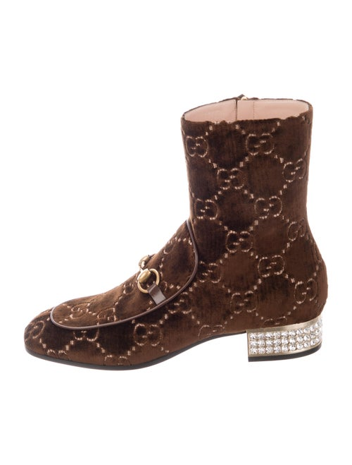 Gucci Horsebit Accent Patterned Boots Brown - image 1
