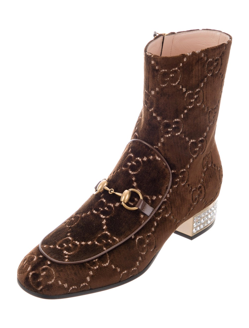Gucci Horsebit Accent Patterned Boots Brown - image 2