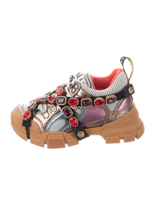 Gucci Leather Crystal Embellishments Chunky Sneak… - image 1