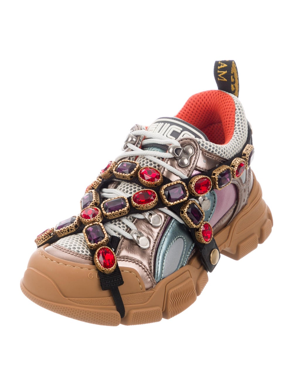 Gucci Leather Crystal Embellishments Chunky Sneak… - image 2