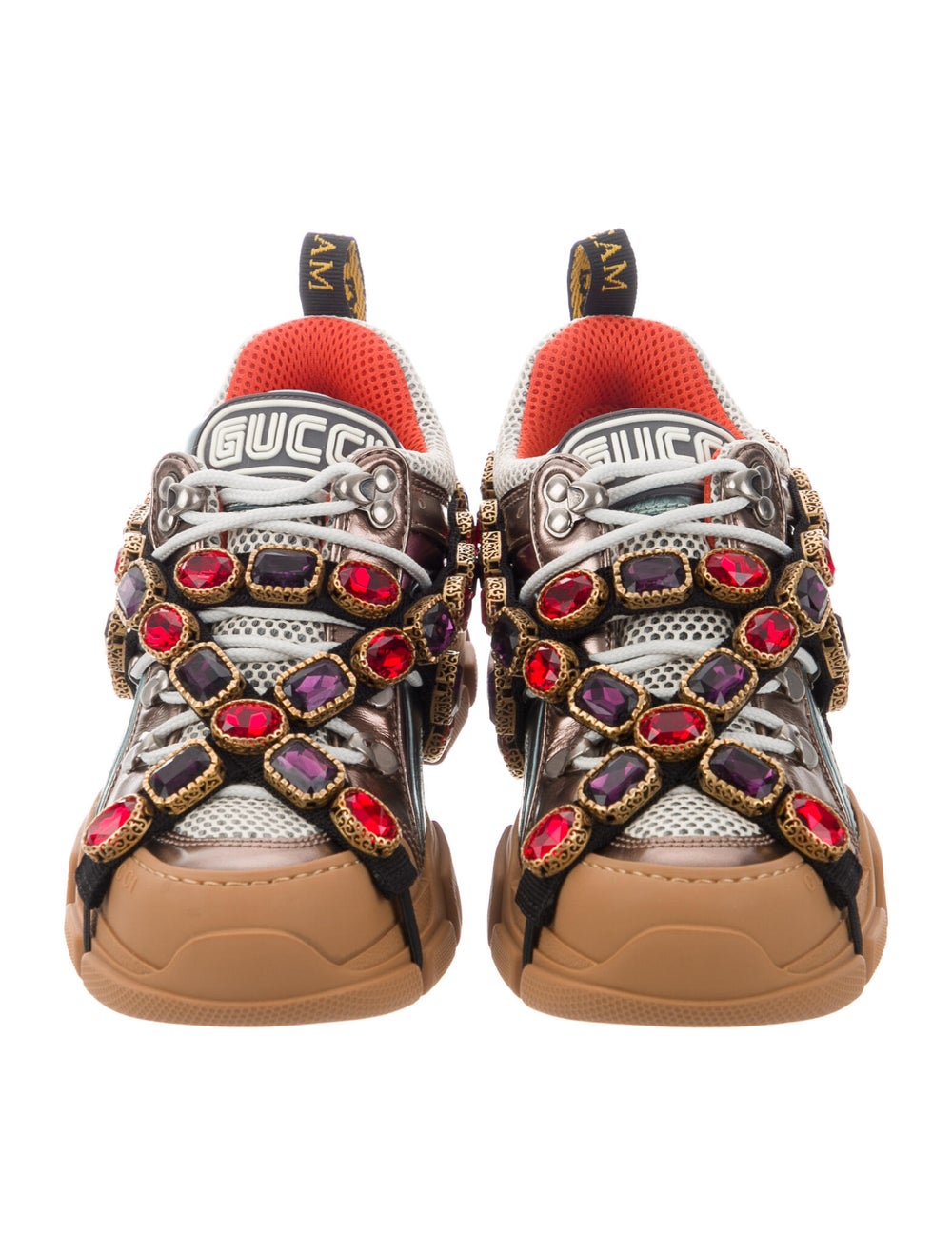 Gucci Leather Crystal Embellishments Chunky Sneak… - image 3