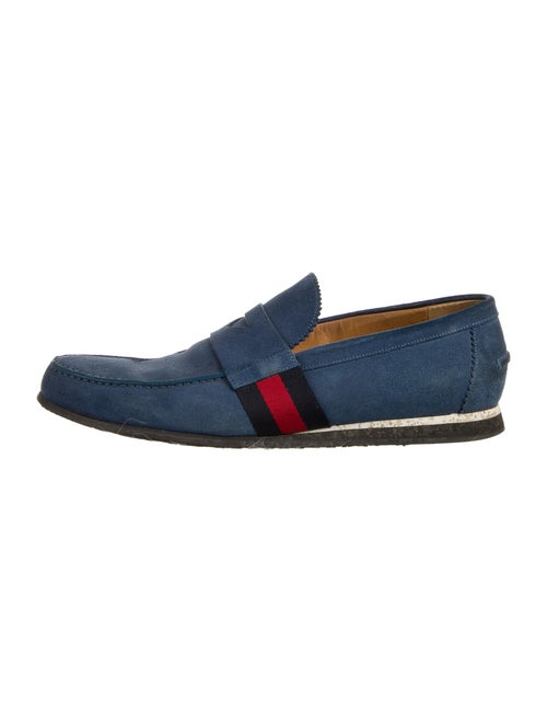 Gucci Suede Colorblock Pattern Loafers Blue - image 1