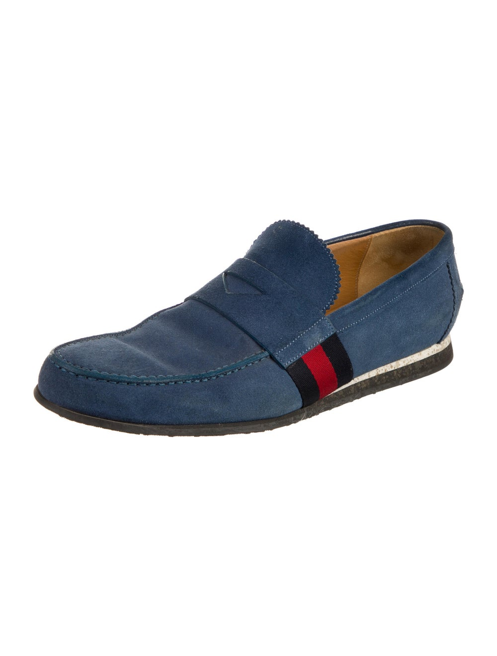 Gucci Suede Colorblock Pattern Loafers Blue - image 2