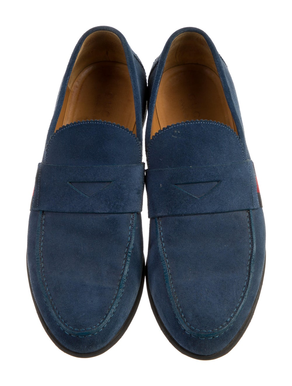 Gucci Suede Colorblock Pattern Loafers Blue - image 3