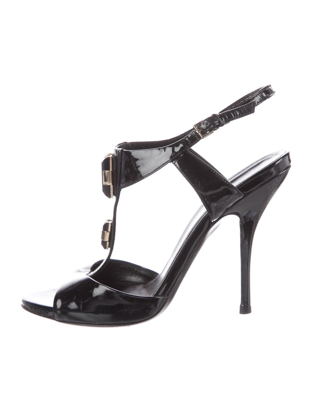 Gucci Patent Leather Crystal Embellishments T-Str… - image 1