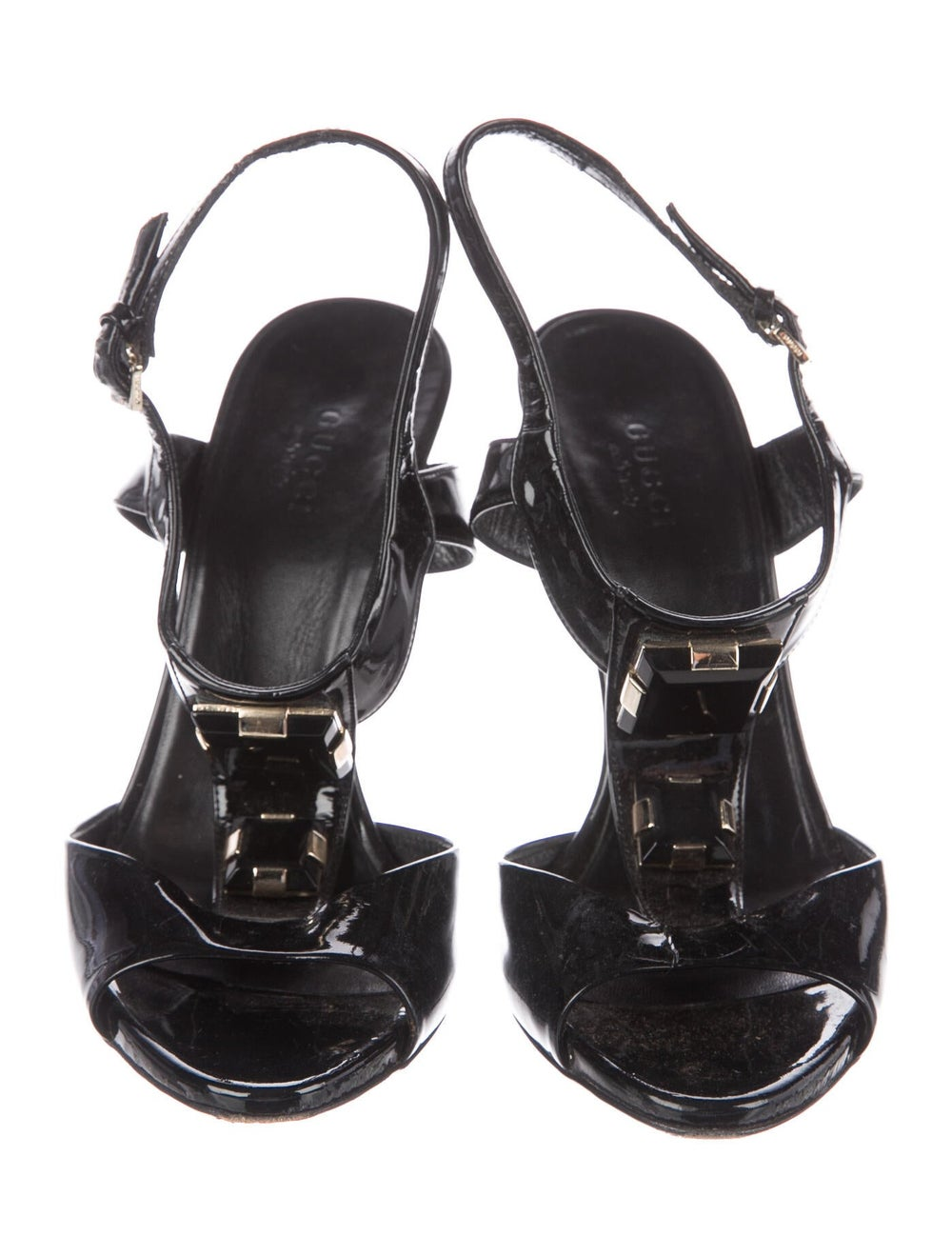 Gucci Patent Leather Crystal Embellishments T-Str… - image 3