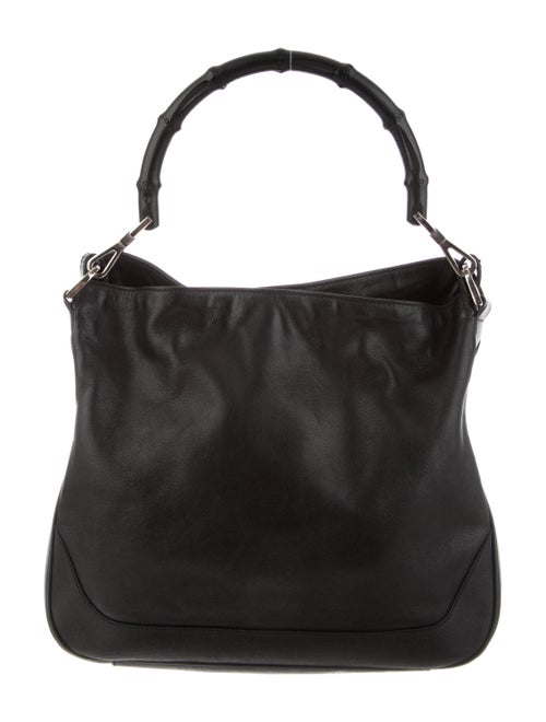 Gucci Vintage Leather Bamboo Handle Bag Black - image 1