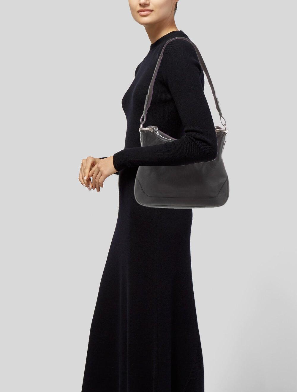 Gucci Vintage Leather Bamboo Handle Bag Black - image 2