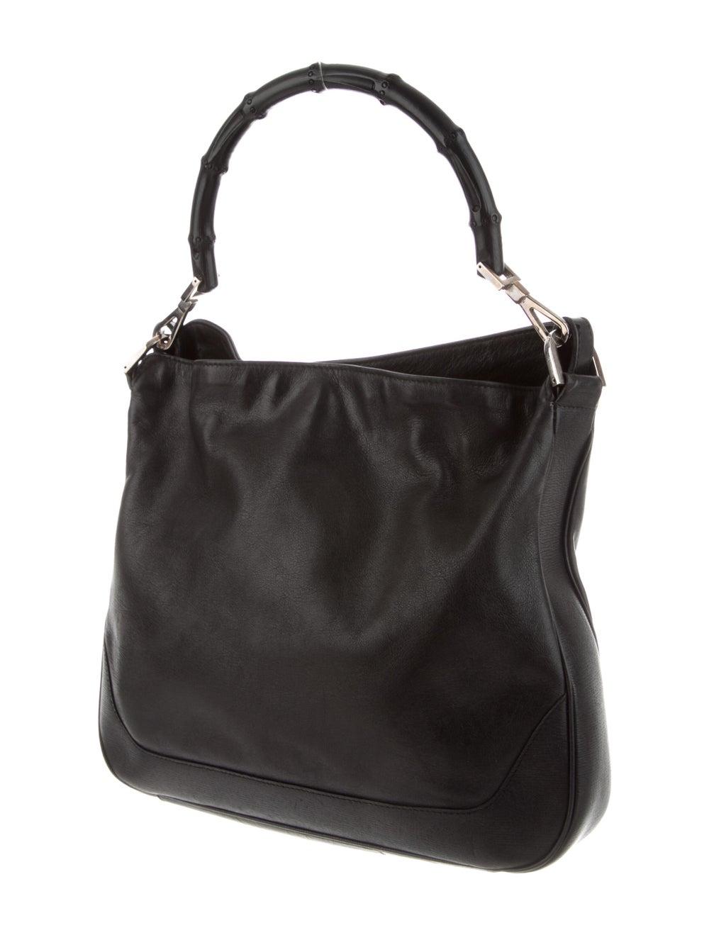 Gucci Vintage Leather Bamboo Handle Bag Black - image 3