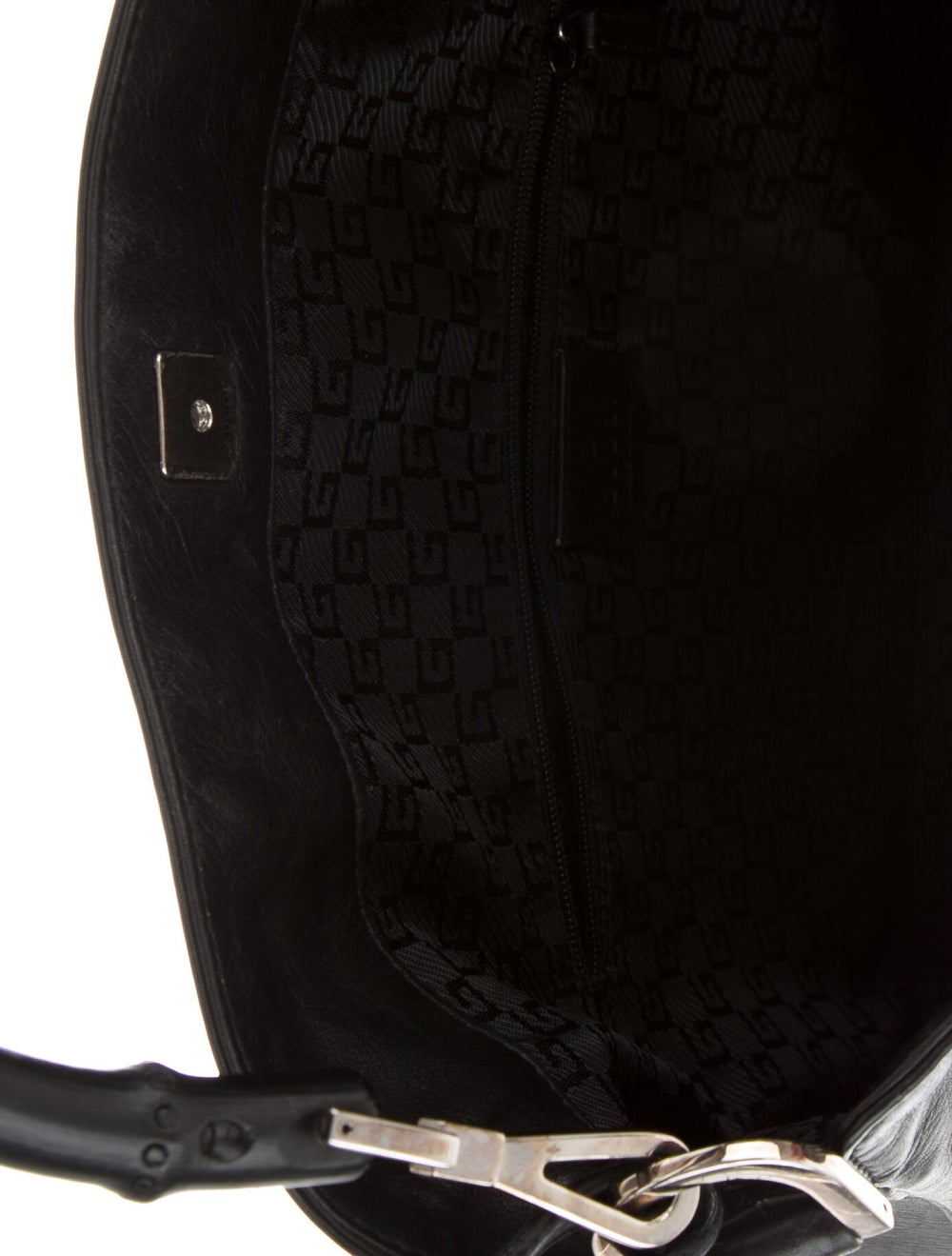Gucci Vintage Leather Bamboo Handle Bag Black - image 5