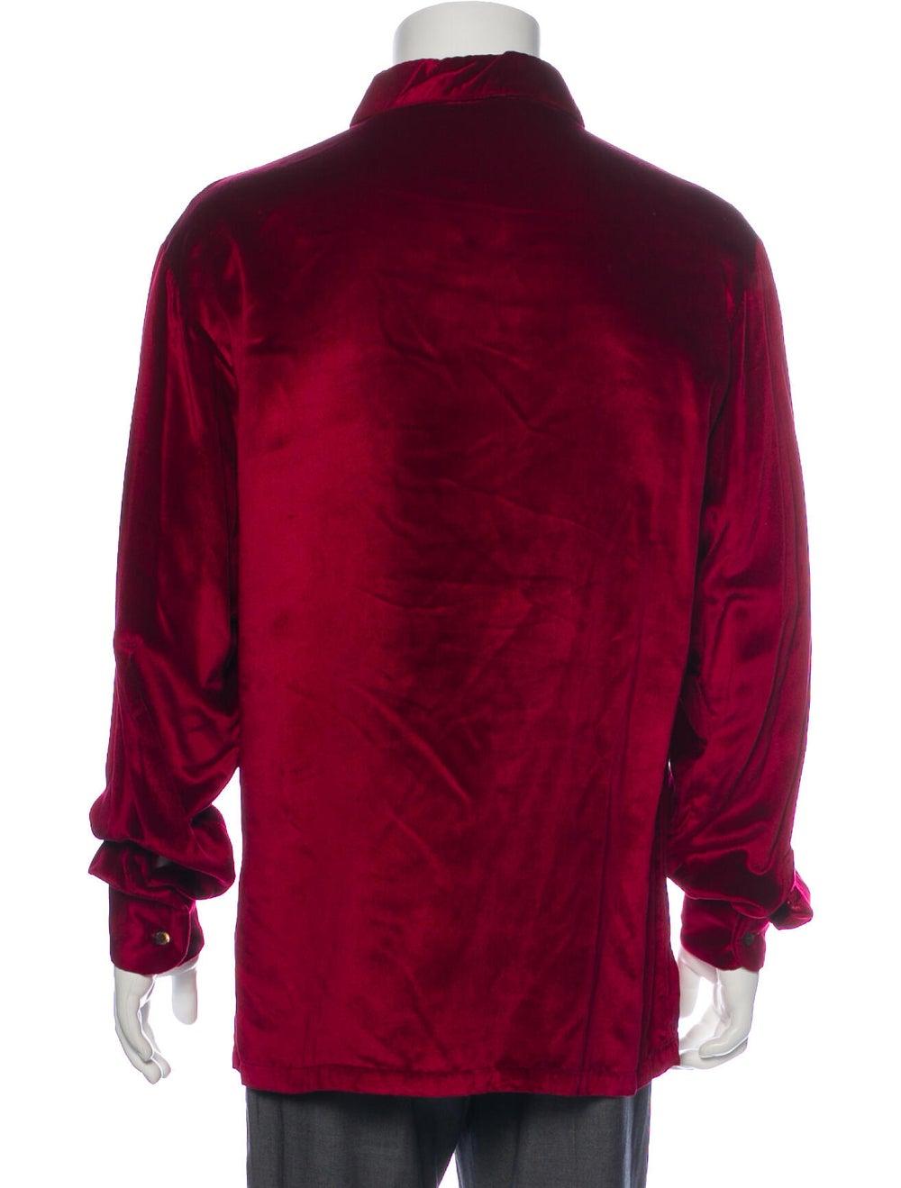 Gucci Vintage 1990's Dress Shirt Red - image 3