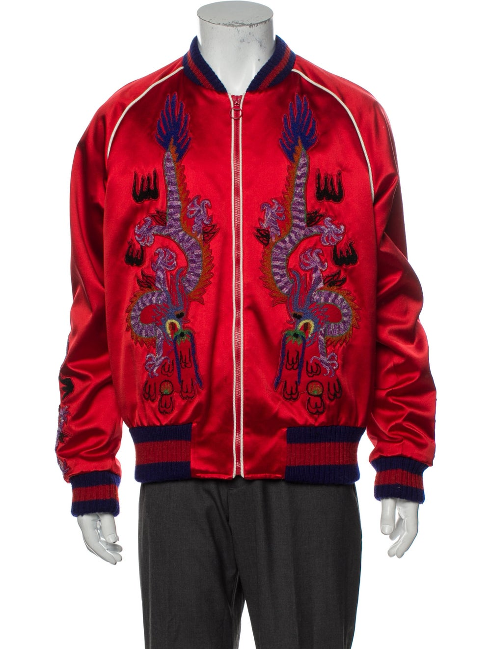 Gucci Silk Patterned Bomber Jacket Red - image 1