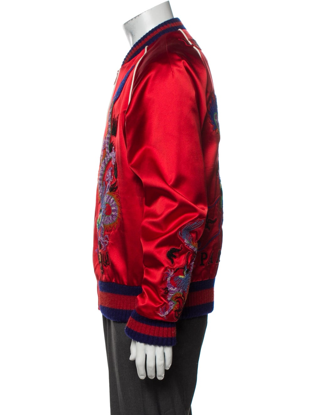 Gucci Silk Patterned Bomber Jacket Red - image 2