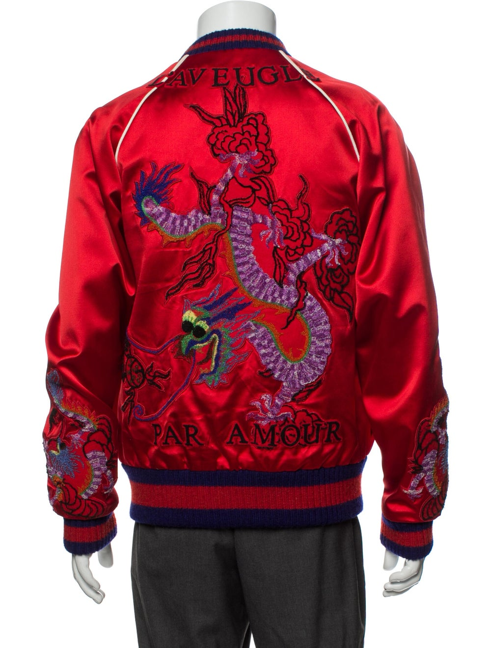 Gucci Silk Patterned Bomber Jacket Red - image 3