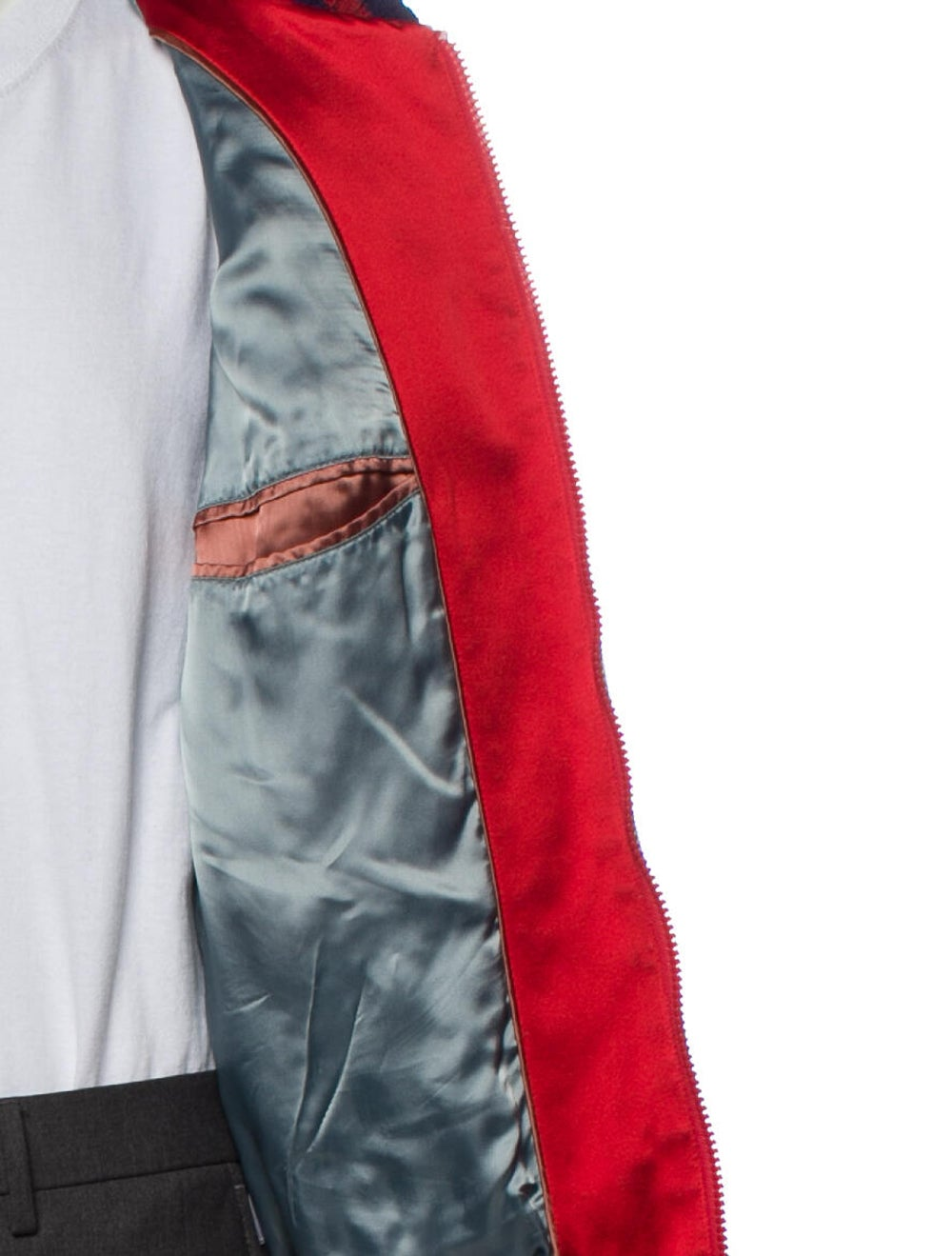 Gucci Silk Patterned Bomber Jacket Red - image 4