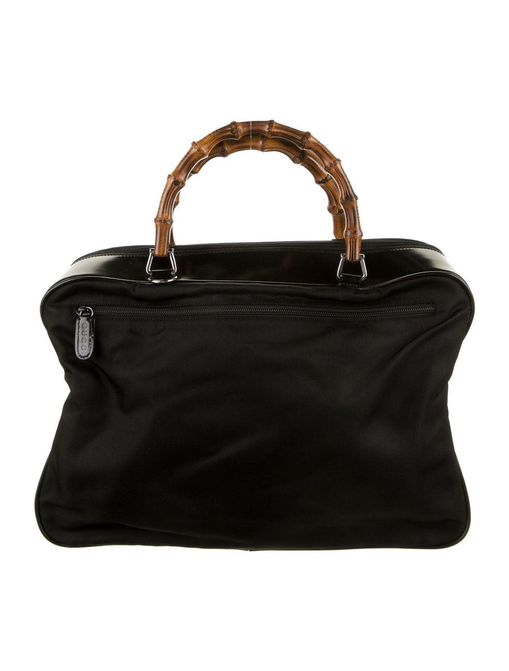 Gucci Vintage Nylon Bamboo Handle Bag Black - image 4