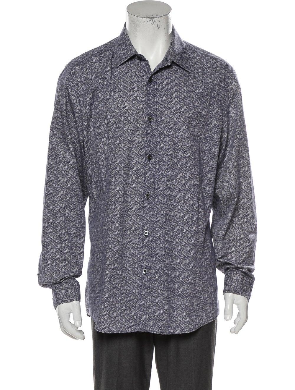 Gucci Floral Print Long Sleeve Shirt Blue - image 1