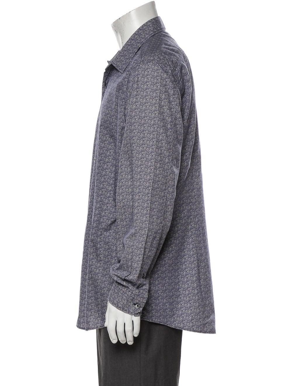 Gucci Floral Print Long Sleeve Shirt Blue - image 2