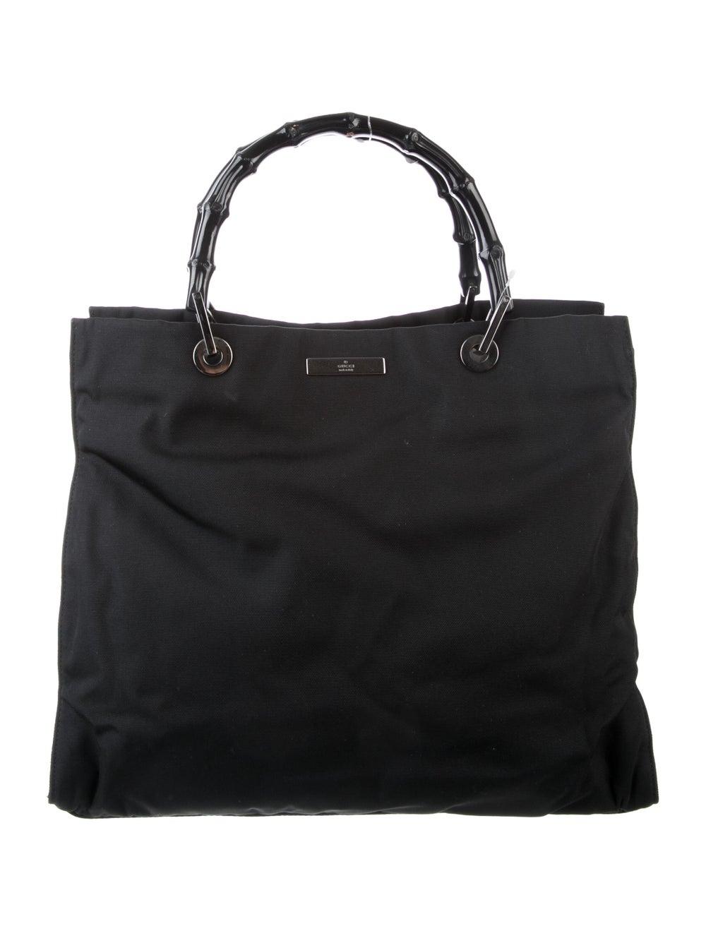 Gucci Vintage Nylon Bamboo Handle Bag Black - image 1