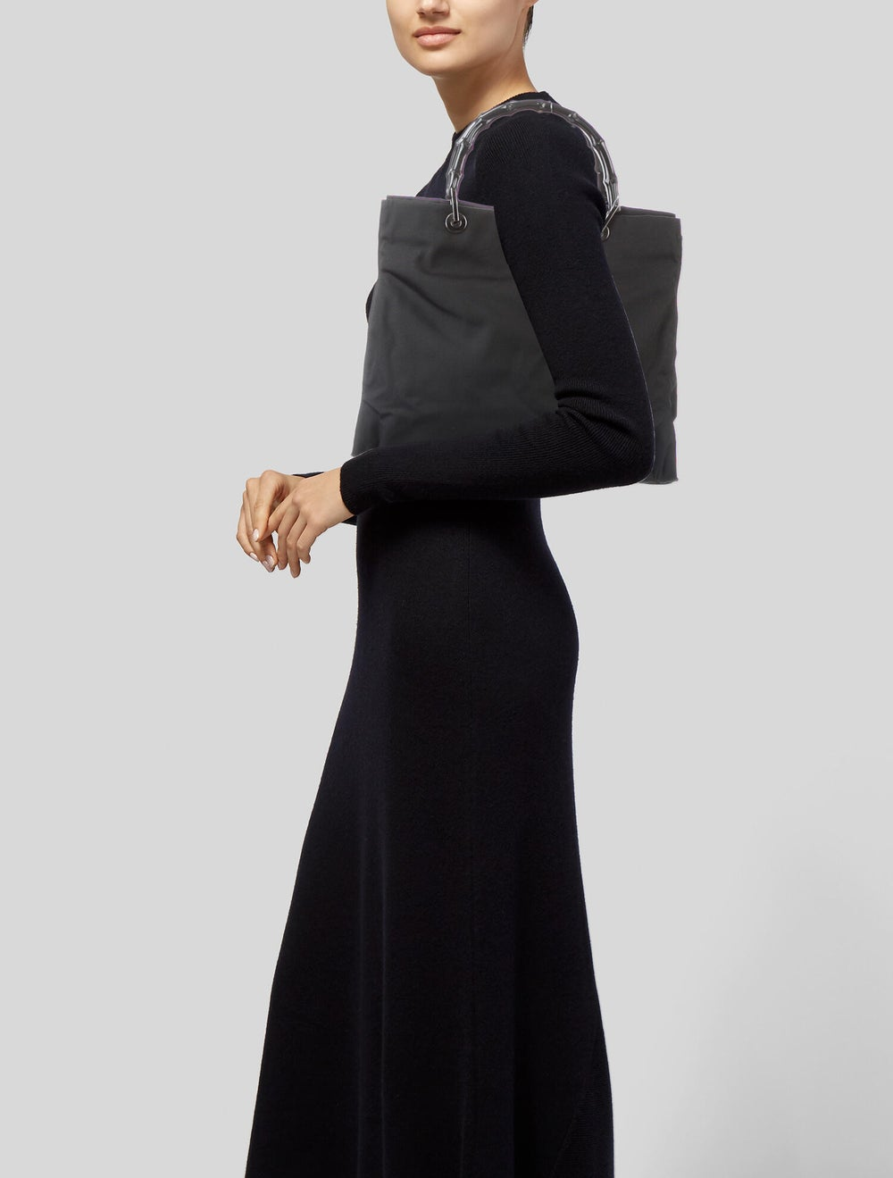 Gucci Vintage Nylon Bamboo Handle Bag Black - image 2