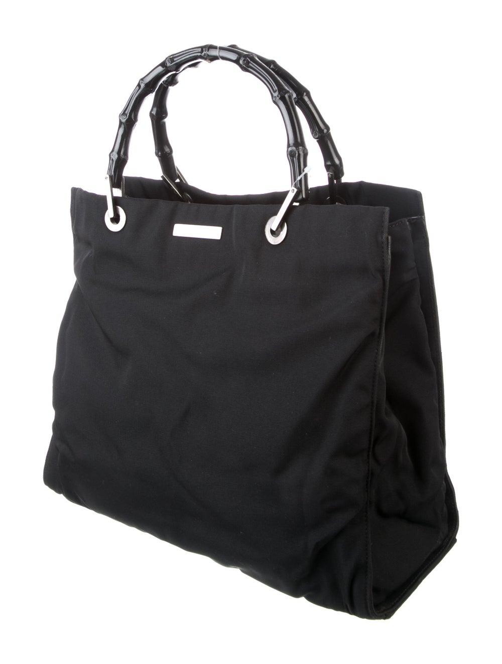 Gucci Vintage Nylon Bamboo Handle Bag Black - image 3
