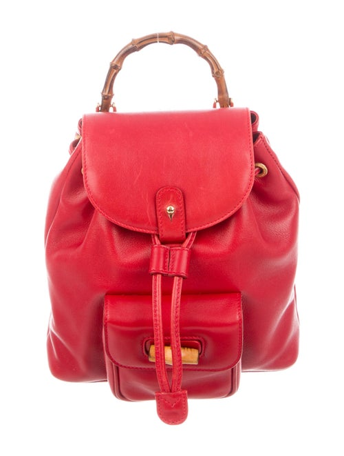 Gucci Vintage Leather Bamboo Backpack Red