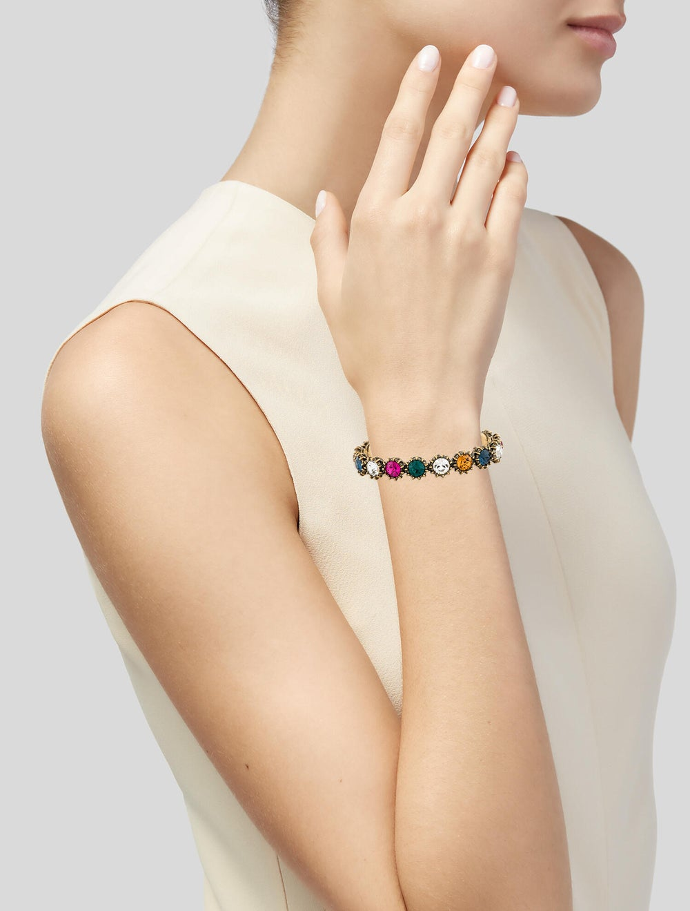 Gucci Multicolor Crystal Cuff Gold - image 2