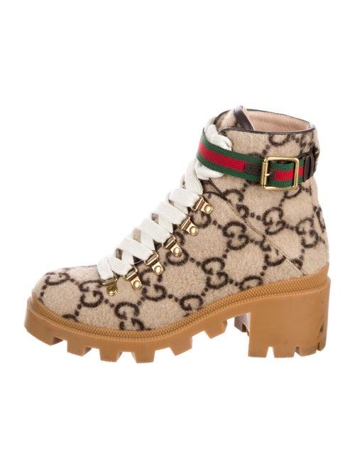 Gucci GG Logo Combat Boots Printed Combat Boots