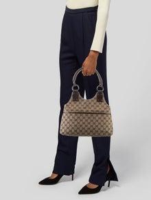 Gucci GG Canvas Leather-Trimmed Shoulder Bag
