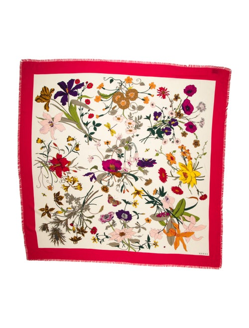 Gucci Floral Print Scarf Red - image 1