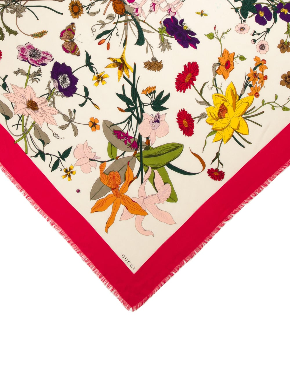 Gucci Floral Print Scarf Red - image 2
