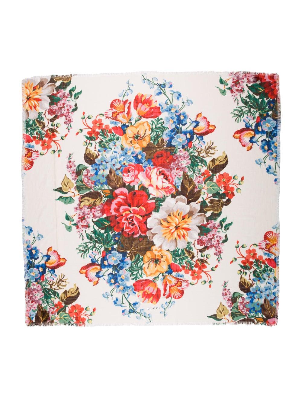 Gucci Wool Floral Print Scarf Wool - image 1
