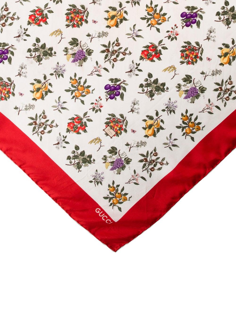 Gucci Silk Floral Print Scarf White - image 2