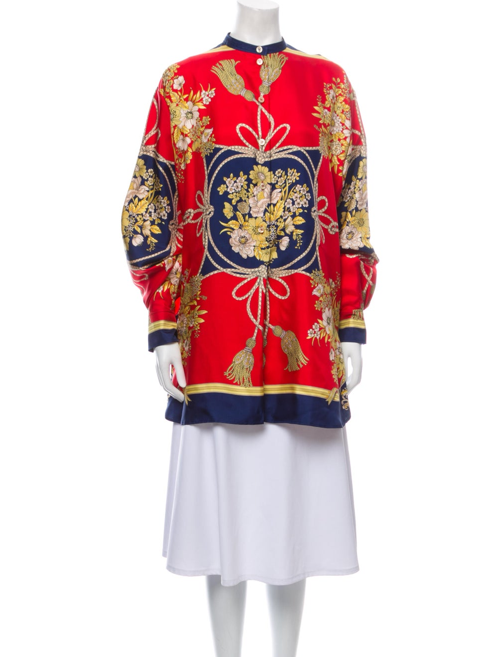 Gucci 2019 Silk Floral Print Tunic w/ Tags Red - image 1