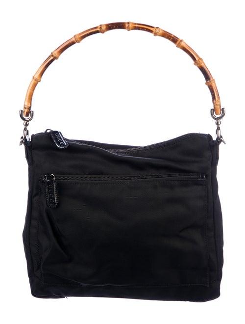 Gucci Vintage Nylon Bamboo Shoulder Bag Black - image 1