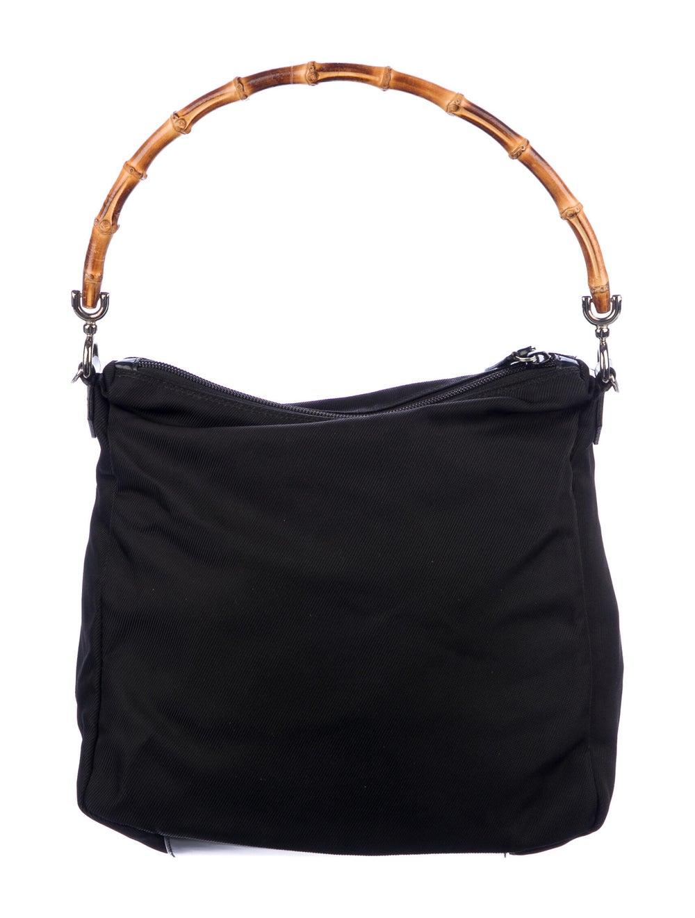 Gucci Vintage Nylon Bamboo Shoulder Bag Black - image 4