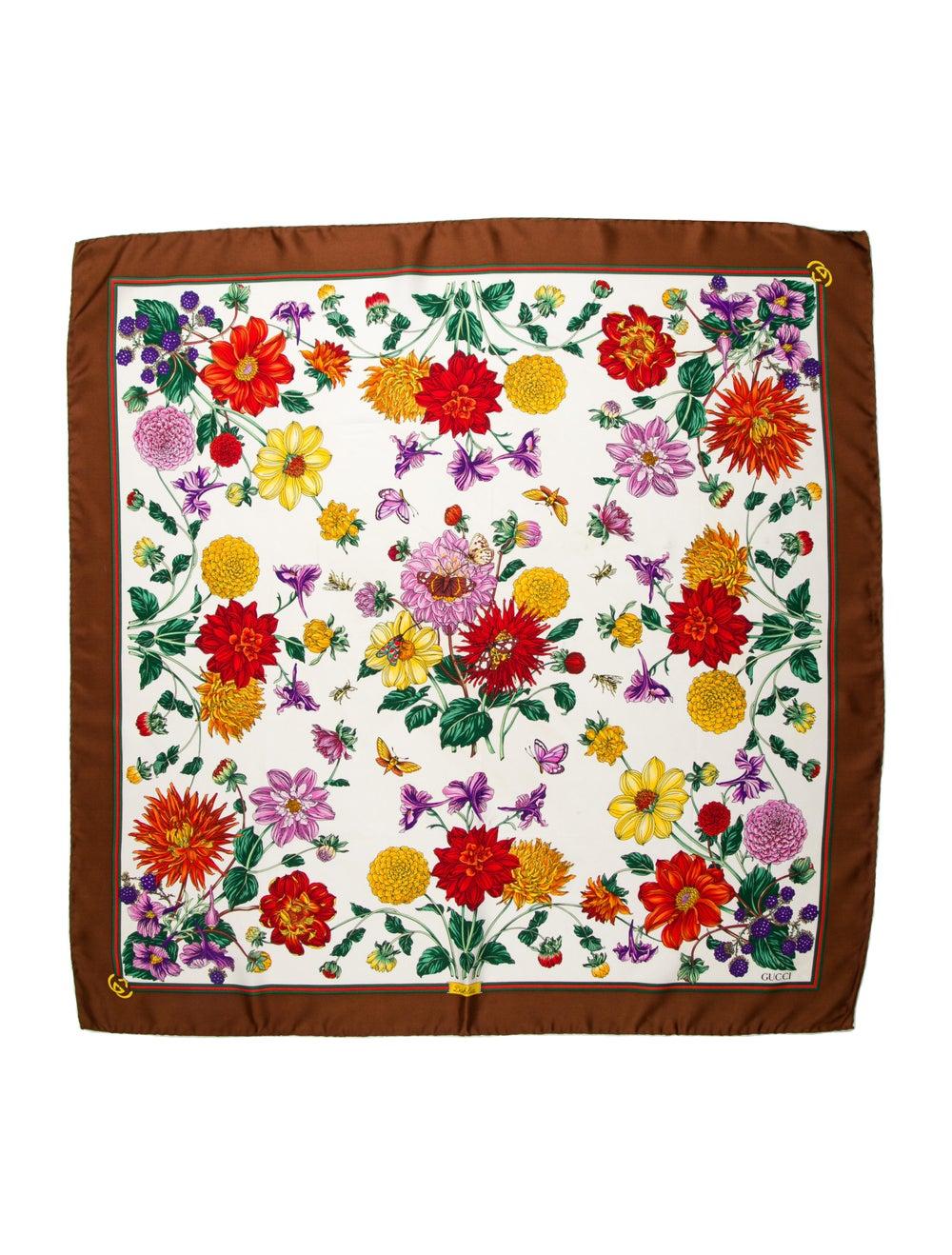 Gucci Silk Floral Print Scarf Brown - image 1